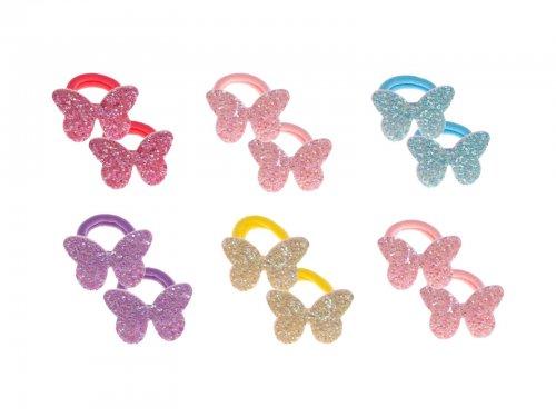 Παιδικό λάστιχο μαλλιών glitter πεταλούδα σετ 2 τμχ