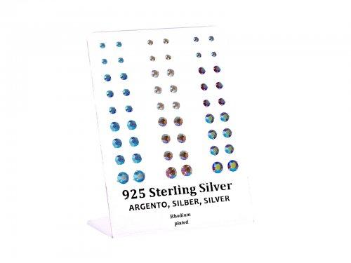 Σκουλαρίκι αυτιού Ασήμι 925 3/4/5/6 mm 4 clip Zircon AB Rhodium plated