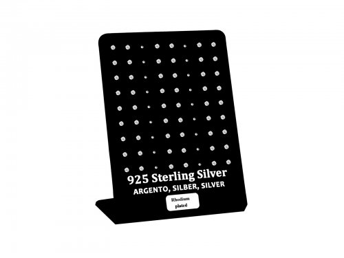 Σκουλαρίκι αυτιού Ασήμι 925 2.5mm 4 clip Zircon Rhodium plated