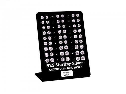 Σκουλαρίκι αυτιού Ασήμι 925 4/5/6 mm 4 clip Zircon Rhodium plated