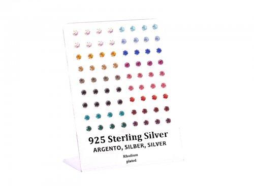 Σκουλαρίκι αυτιού Ασήμι 925 στρας χρώμα 4 mm Rhodium plated