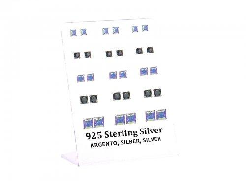 Σκουλαρίκι αυτιού Ασήμι 925 5/6/8 mm 4 clip AB Λευκό-Μαύρο