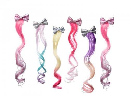 Παιδικό κλιπ μαλλιών με glitter φιόγκο και extension unicorn