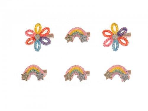 Παιδικό κλιπ μαλλιών ουράνιο τόξο και λουλούδι