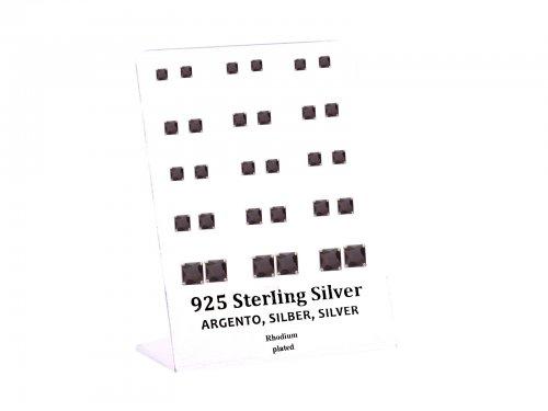 Σκουλαρίκι αυτιού Ασήμι 925 Τετράγωνο μαύρο στρας 4/5/6/8 mm 4clip Rho